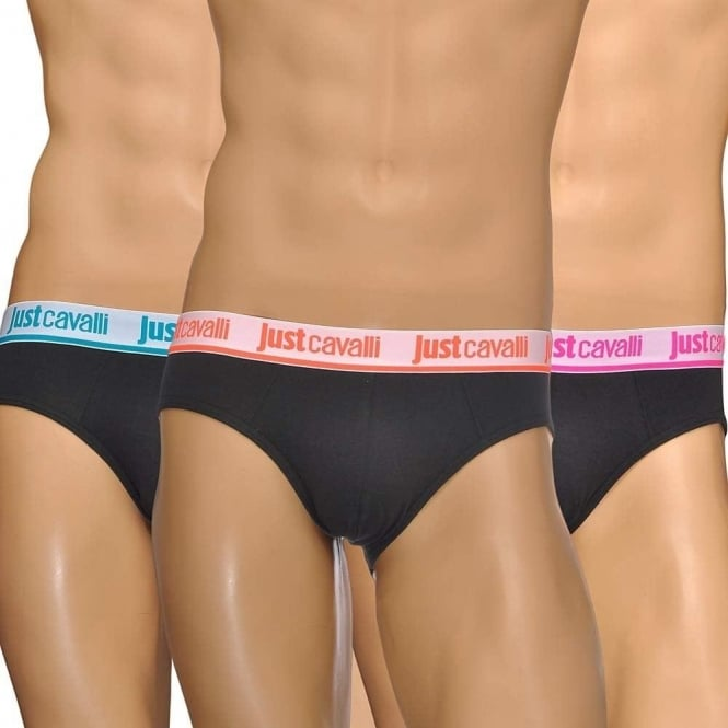 Just Cavalli Cotton Stretch 3-Pack Hip Briefs, Black/Neon