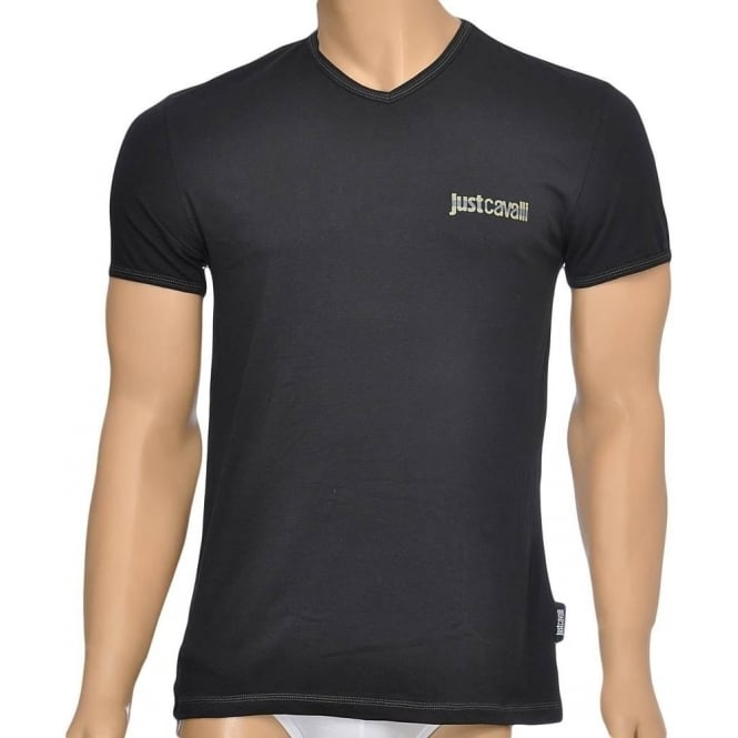 Just Cavalli Cotton Stretch V-Neck T-shirt, Black