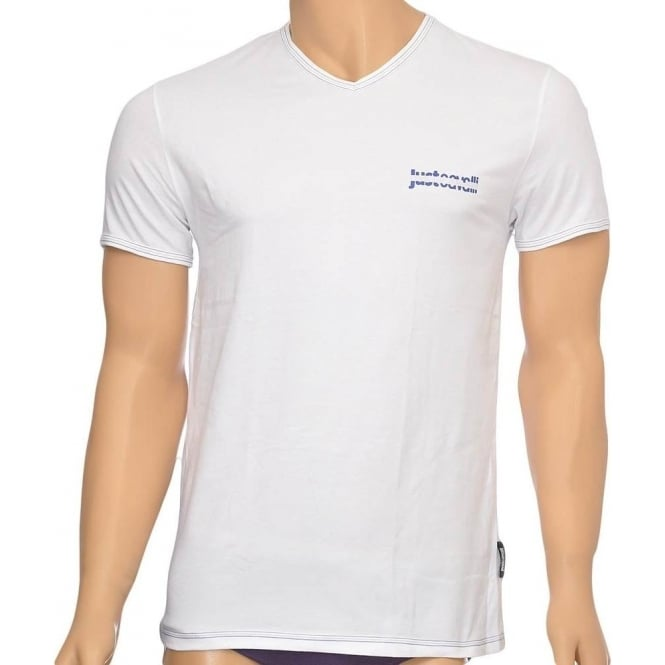 Just Cavalli Cotton Stretch V-Neck T-shirt, White