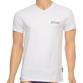 Cotton Stretch V-Neck T-shirt, White