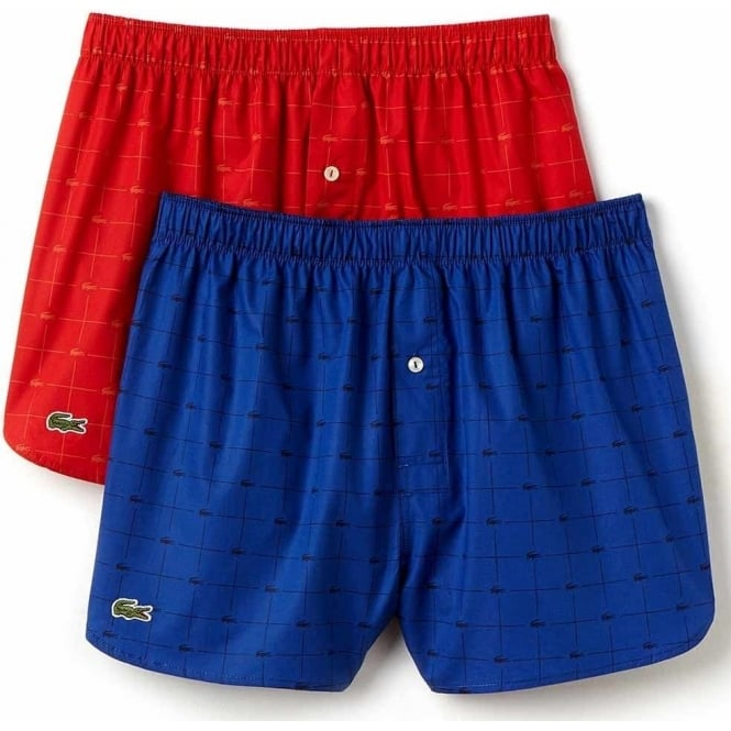 fa17724ae432 Lacoste Authentics 2 Pack Woven Boxer Red Blue Print