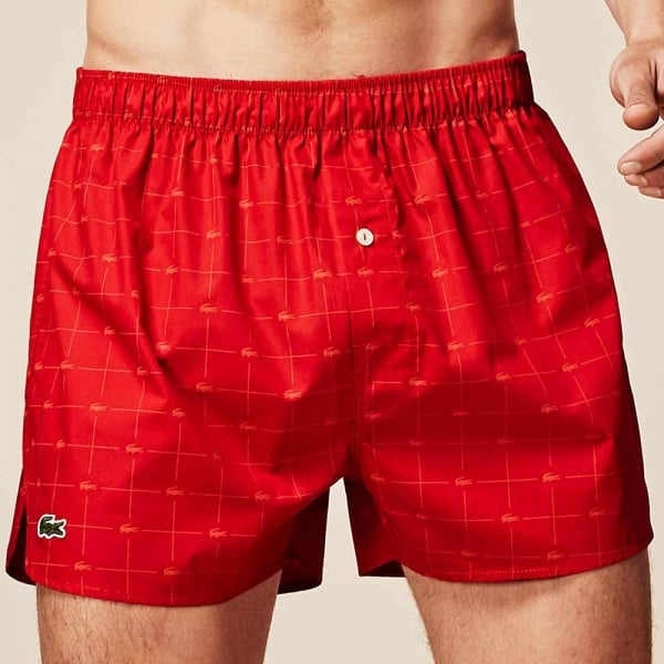 be5483814 Lacoste Authentics 2 Pack Woven Boxer Red Blue Print