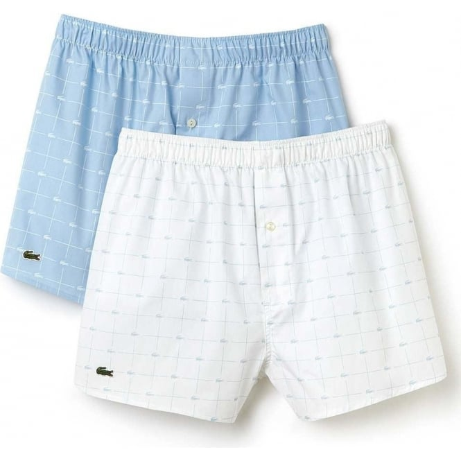 62168c49bc6e Lacoste Authentics 2 Pack Woven Boxer White Blue Print