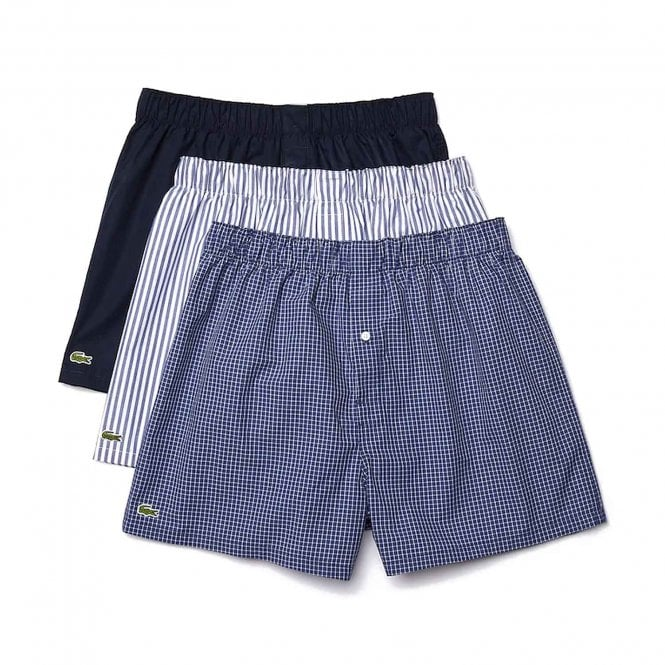 Lacoste Authentics 3 Pack Woven Boxer, Check / Navy Blue / Stripe