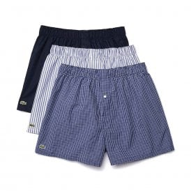 Authentics 3 Pack Woven Boxer, Check / Navy Blue / Stripe