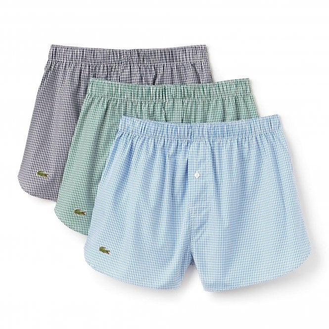 Lacoste Authentics 3-Pack Woven Boxer, Green / Blue / Navy