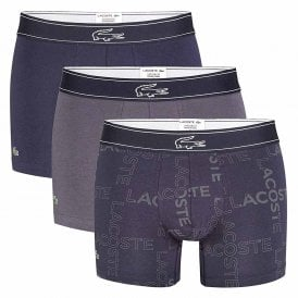 Colours Cotton Stretch 3-Pack Boxer Trunk, Grey / Print / Navy