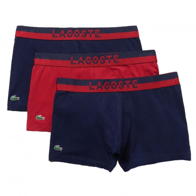 Lacoste Colours Cotton Stretch 3-Pack Boxer Trunk, Navy / Red / Navy