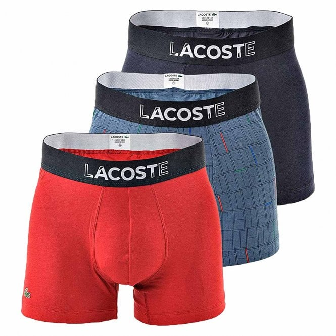 Lacoste Colours Cotton Stretch 3-Pack Boxer Trunk, Red / Print / Navy
