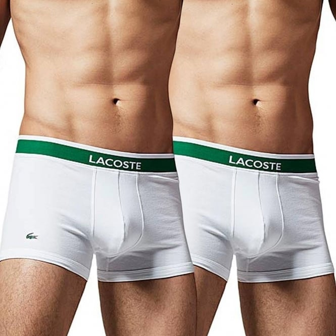 aea66f8661dc Lacoste Cotton Stretch 2 Pack Boxer Trunk White