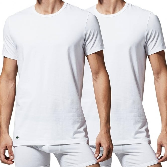Lacoste Cotton Stretch 2-Pack Crew Neck Slim Fit T-Shirt, White