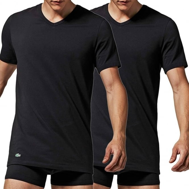 44f1d828cdd033 Lacoste Cotton Stretch 2-Pack V-Neck T-Shirt Black