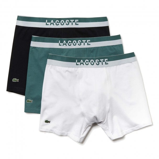 Lacoste Cotton Stretch 3 Pack Boxer Brief, Idaho Green / White / Black
