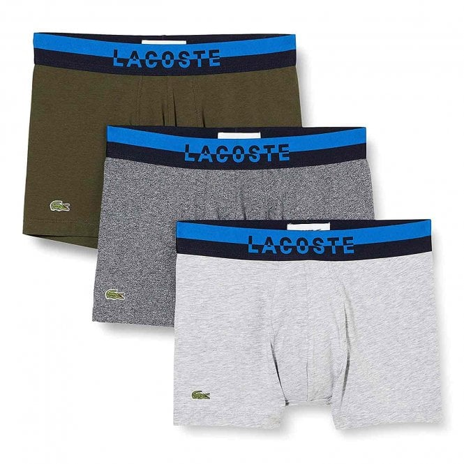 Lacoste Cotton Stretch 3 Pack Boxer Trunk, Eclipse Jaspe / Baobab / Silver Chine