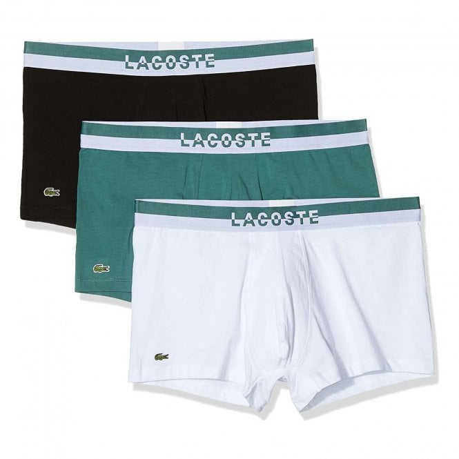 Lacoste Cotton Stretch 3 Pack Boxer Trunk, Idaho Green / White / Black