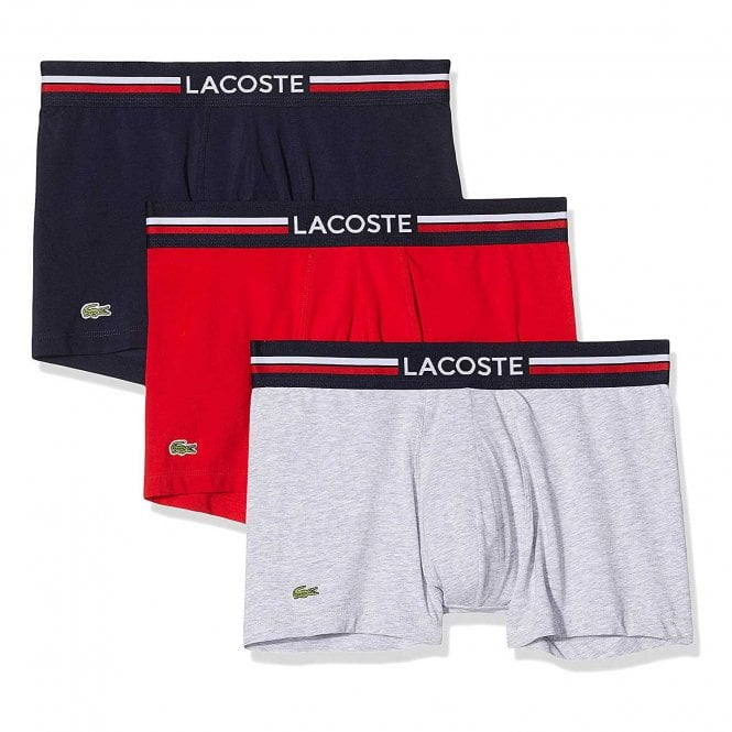 Lacoste Cotton Stretch 3 Pack Boxer Trunk, Navy Blue / Silver Chine / Red