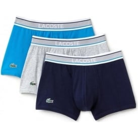 Cotton Stretch 3 Pack Boxer Trunk, Navy/Grey/Blue