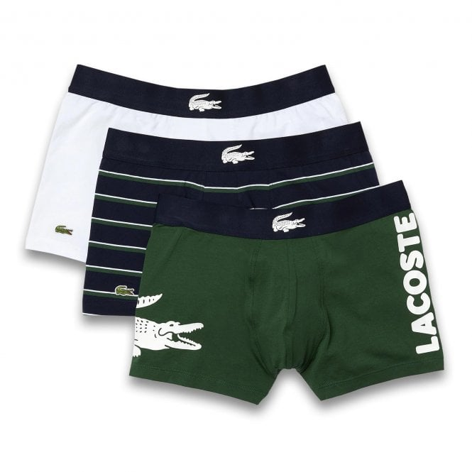 Lacoste Cotton Stretch 3 Pack Boxer Trunk, White / Navy Stripe / Green