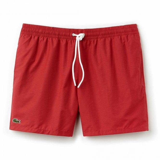 Lacoste Cotton Taffeta Swim Shorts, Intense Red