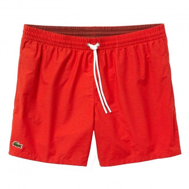 Lacoste Cotton Taffeta Swim Shorts, Red