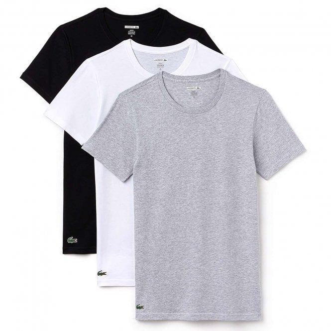 Lacoste Essentials Cotton 3-Pack Crew Neck Slim Fit T-Shirt, Black/Grey/White