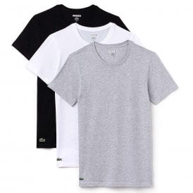 Essentials Cotton 3-Pack Crew Neck Slim Fit T-Shirt, Black/Grey/White