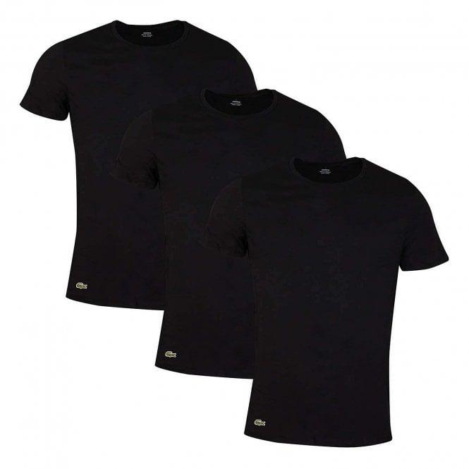 Lacoste Essentials Cotton 3-Pack Crew Neck T-Shirt, Black