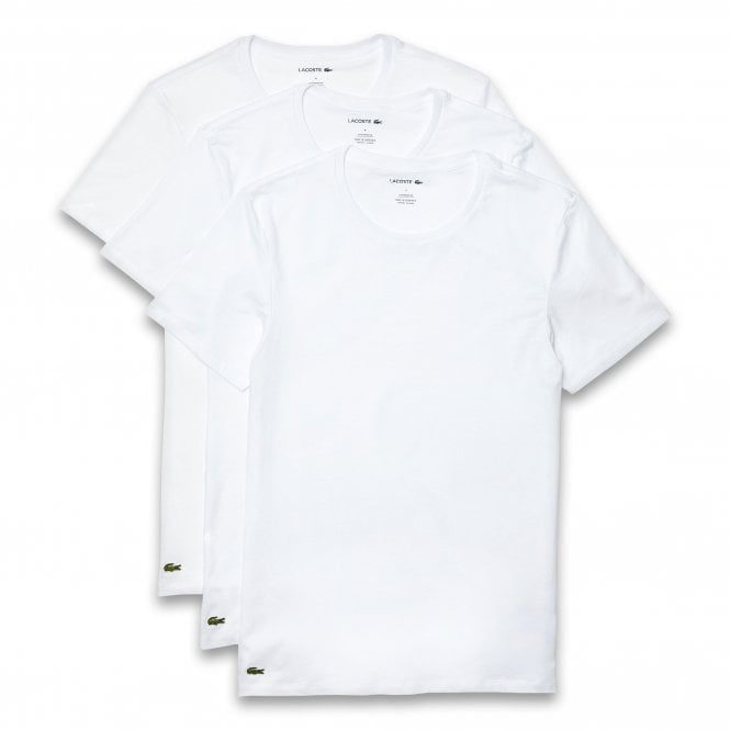 Lacoste Essentials Cotton 3-Pack Slim Fit Crew Neck T-Shirt, White