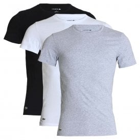 Essentials Cotton 3-Pack Slim Fit Crew Neck T-Shirt, White / Silver Chine / Black