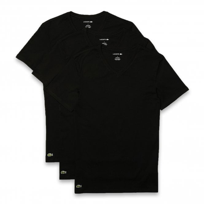 Lacoste Essentials Cotton 3-Pack Slim Fit V-Neck T-Shirt, Black