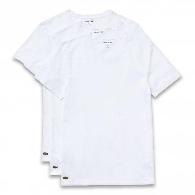 Lacoste Essentials Cotton 3-Pack Slim Fit V-Neck T-Shirt, White