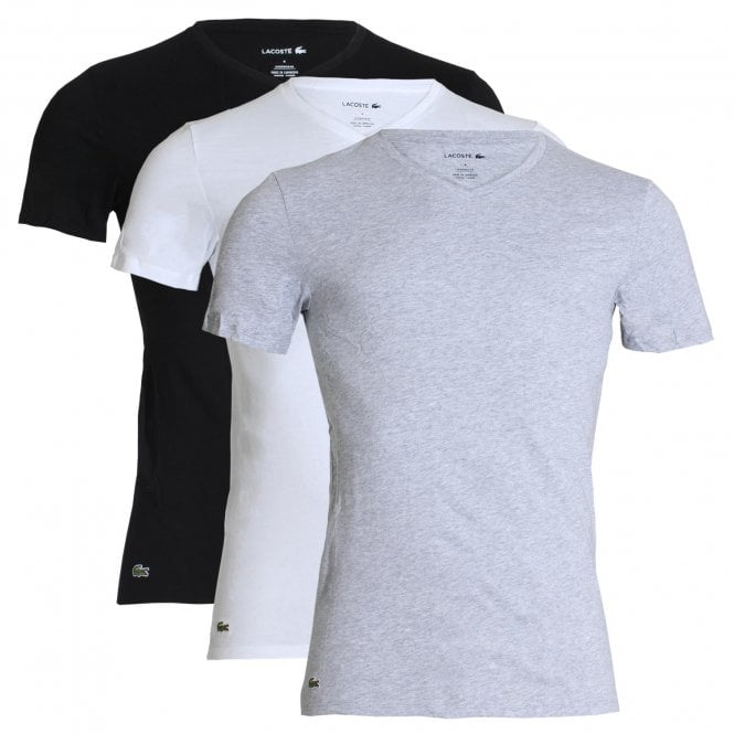 Lacoste Essentials Cotton 3-Pack Slim Fit V-Neck T-Shirt, White / Silver Chine / Black