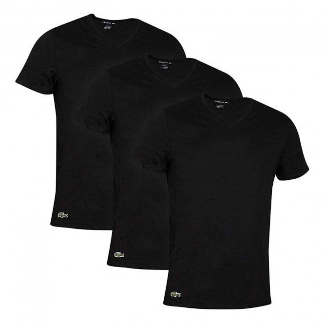 Lacoste Essentials Cotton 3-Pack V-Neck T-Shirt, Black