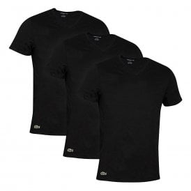 Essentials Cotton 3-Pack V-Neck T-Shirt, Black