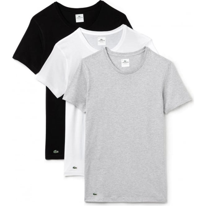 ba8d10633b Lacoste Essentials Supima Cotton 3-Pack Crew Neck Slim Fit T-Shirt,  Black/Grey/White, Small
