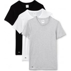 Essentials Supima Cotton 3-Pack Crew Neck Slim Fit T-Shirt, Black/Grey/White