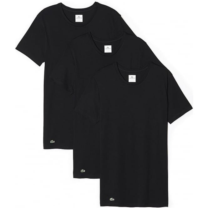 9fb4747c9 Lacoste Essentials Supima Cotton 3-Pack Crew Neck T-Shirt Black