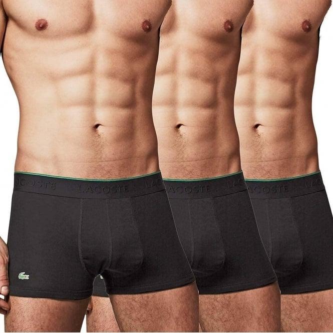 Lacoste Essentials Supima Cotton 3 Pack Trunk, Black