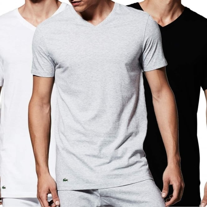 Lacoste Essentials Supima Cotton 3-Pack V-Neck T-Shirt Black Grey White d6f5e4912f31