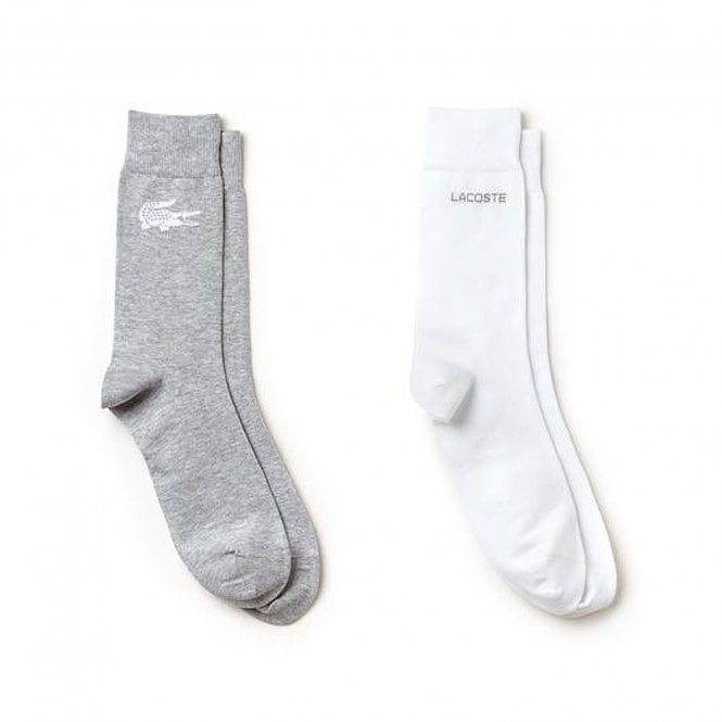 Lacoste Sport 2 Pack Socks, White / Grey