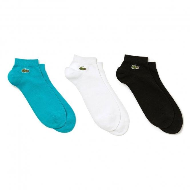 Lacoste Sport 3 Pack Sneaker Socks, Turquoise / Black / White