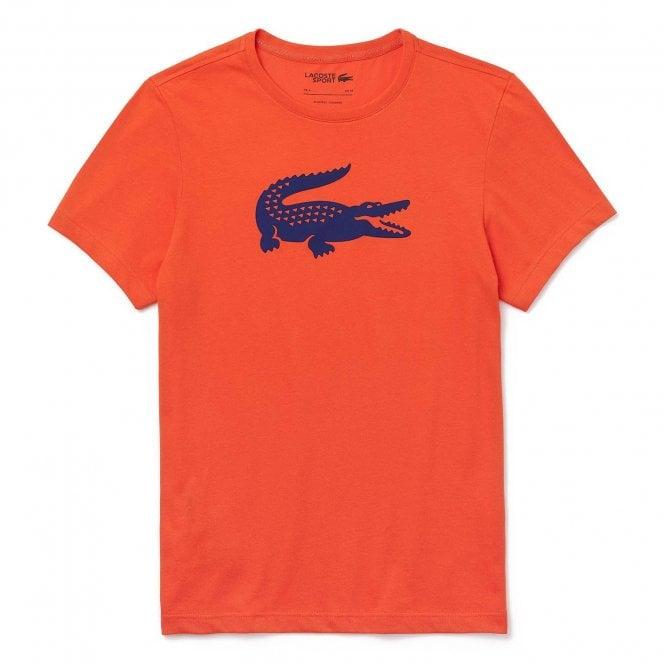 Lacoste Sport Croc Logo Crew Neck T-Shirt, Orange