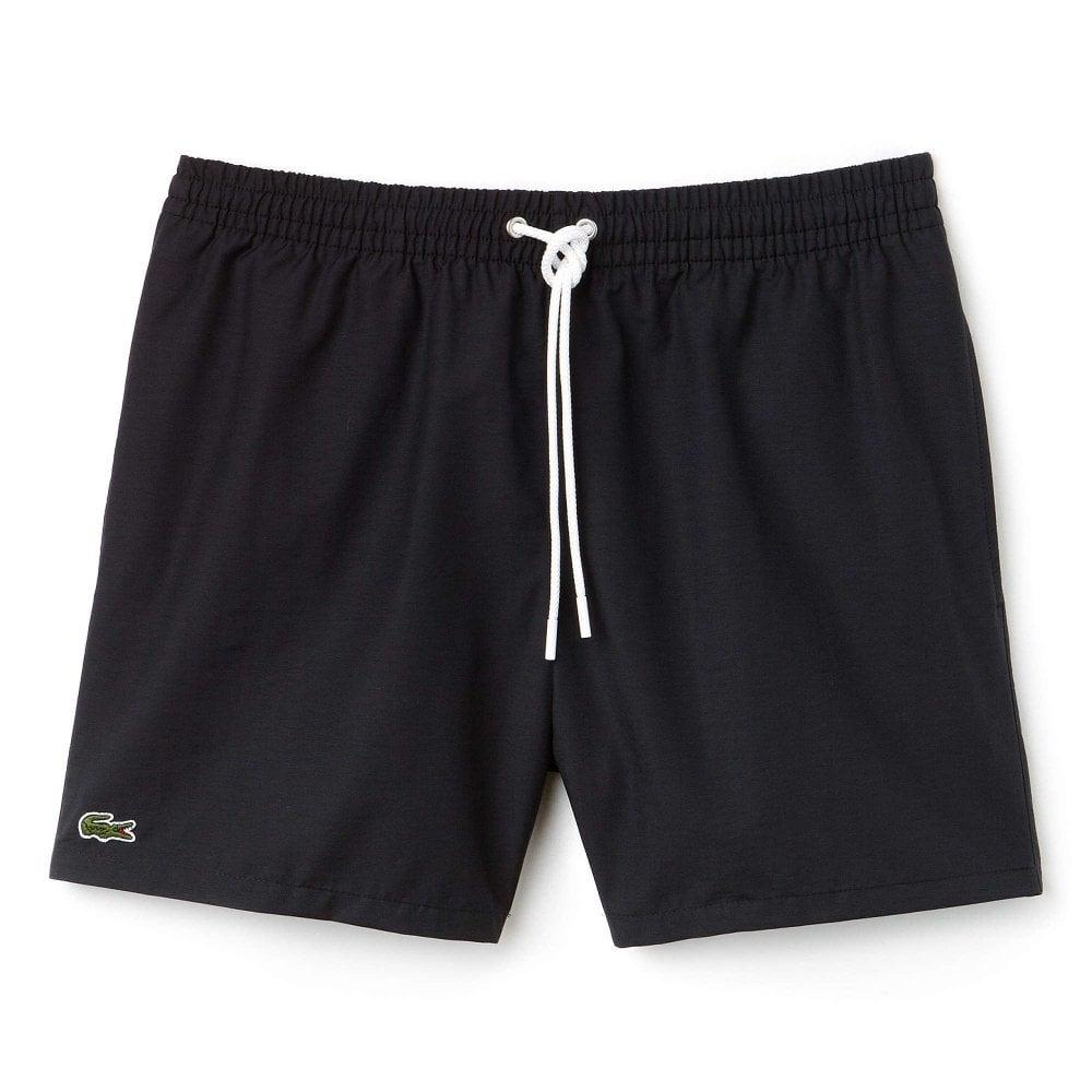 c7f26adac4 Lacoste Swimwear - Cotton Taffeta Swim Shorts Black