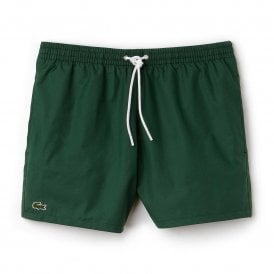 Cotton Taffeta Swim Shorts, Dark Green