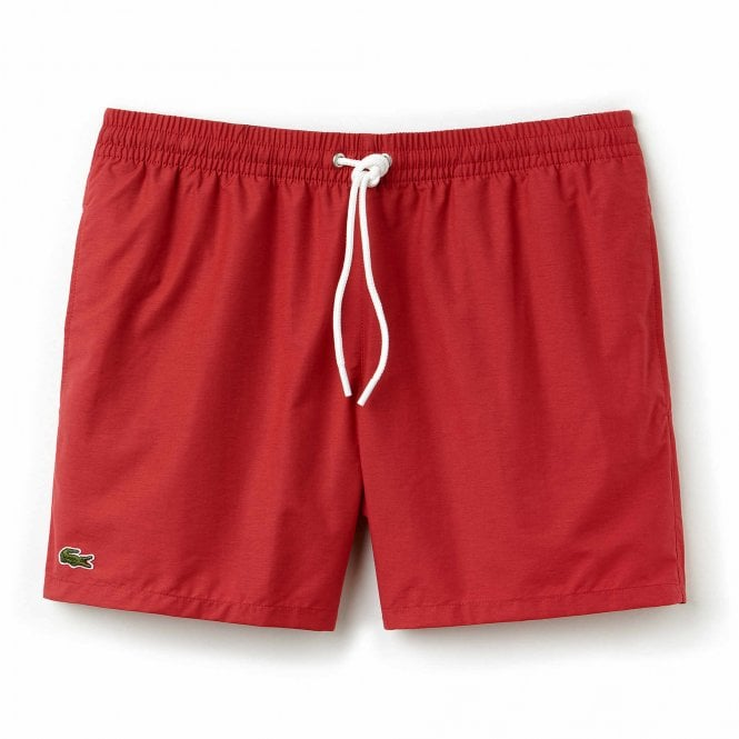 Lacoste Cotton Taffeta Swim Shorts, Intense Red