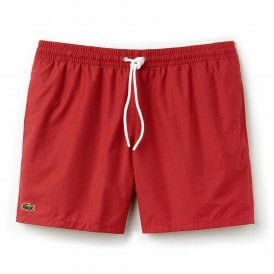 Cotton Taffeta Swim Shorts, Intense Red
