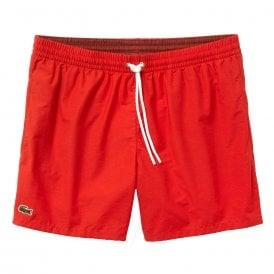 Cotton Taffeta Swim Shorts, Red