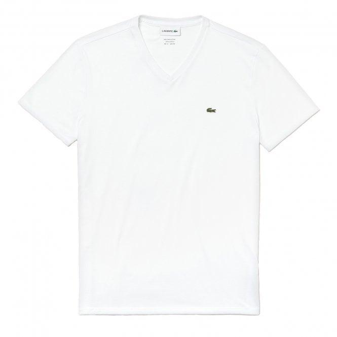 Lacoste V-Neck Pima Cotton Jersey T-shirt, White