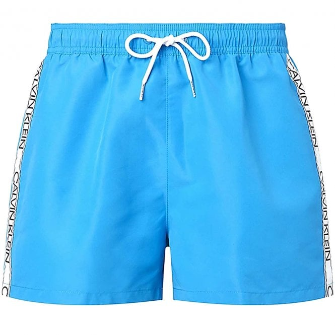 Calvin Klein Logo Tape Short Drawstring Swim Shorts, Candy Blue