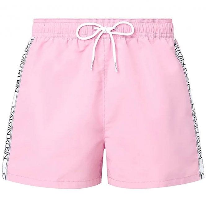 Calvin Klein Logo Tape Short Drawstring Swim Shorts, Lovely Blush